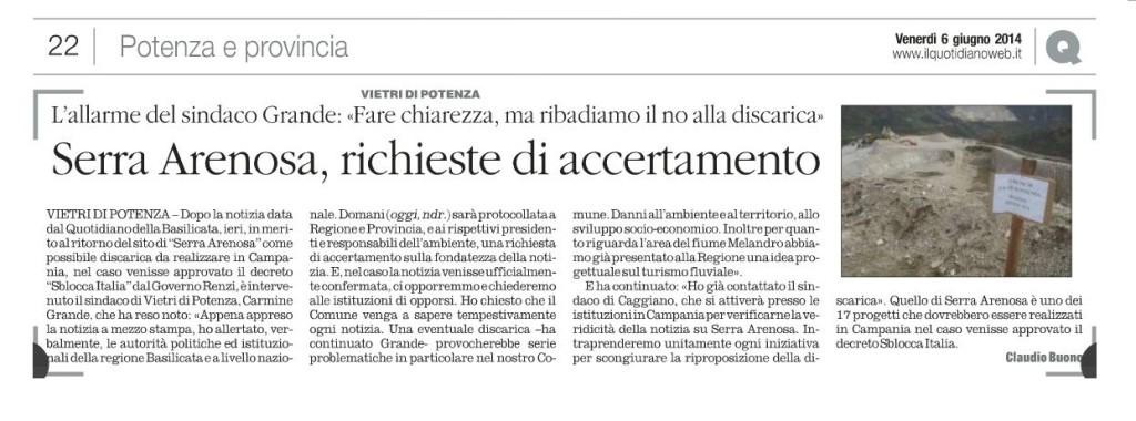 L'articolo pubblicato oggi 6 giugno sul Quotidiano della Basilicata