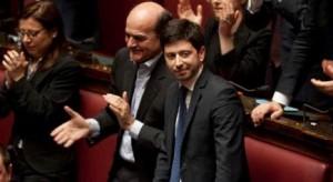 29/04/2013 Roma, Camera dei Deputati. Il presidente del consiglio pronuncia il discorso programmatico. Nella foto Pier Luigi Bersani e Roberto Speranza
