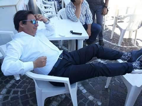 Capuano durante un momento di relax a Pescopagano