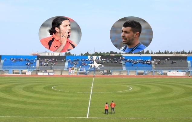 """Lo stadio """"Ventura"""" di Bisceglie. Nei fotini Maurizio De Pascale (Picerno) e Claudio De Luca (Bisceglie)"""