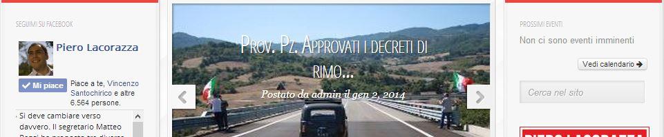 La notizia sulla home page del sito di Piero Lacorazza