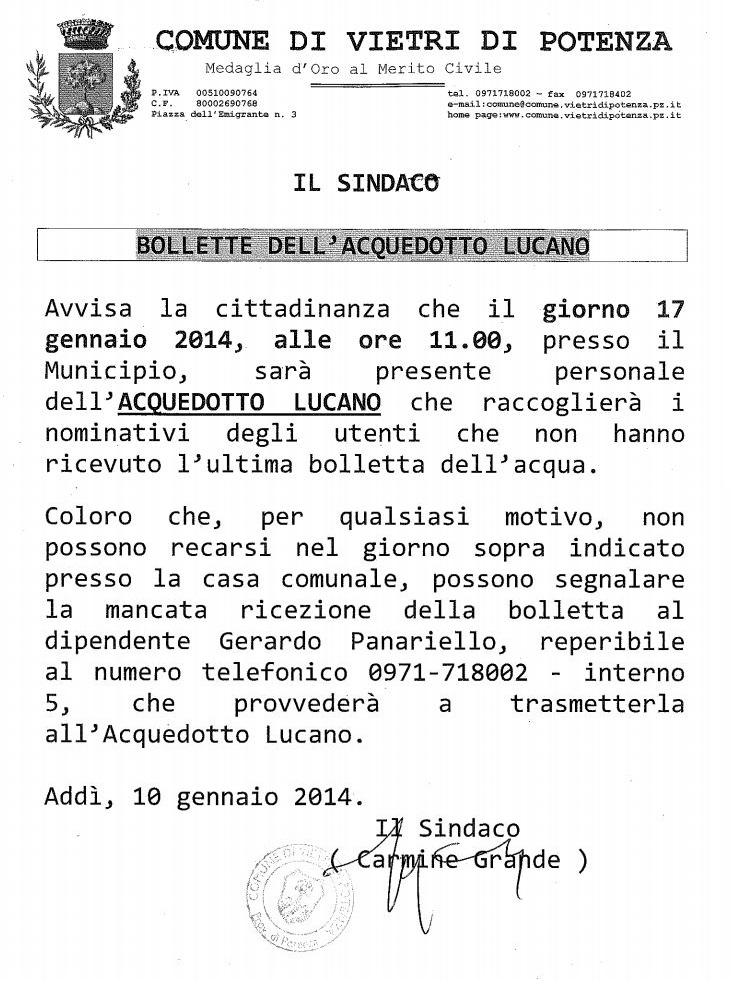 AVVISO DEL COMUNE DI VIETRI DI POTENZA SU BOLLETTE ACQUEDOTTO LUCANO
