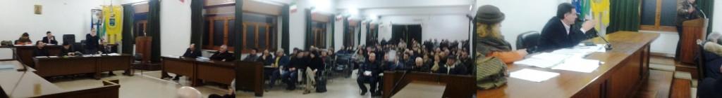 Nella foto: da sinistra verso destra l'intervento del Sindaco, il pubblico e il presidente del Consiglio Cardillo