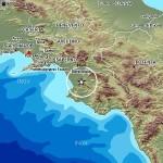 L'area interessata dalla scossa di terremoto