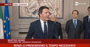 Renzi durante l'intervento dopo l'incarico ricevuto