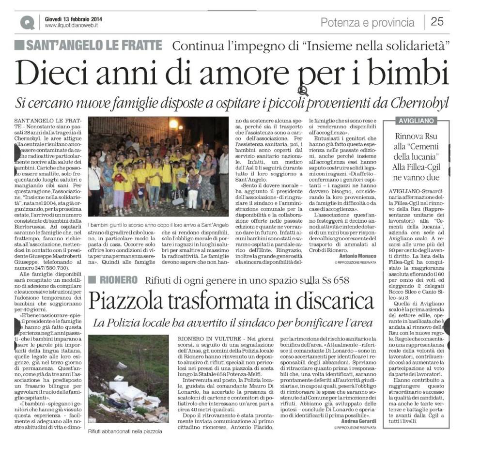 """L'articolo pubblicato ieri dal """"Quotidiano della Basilicata"""" a pagina 25"""