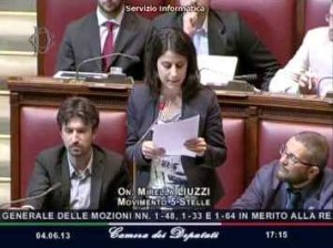 L'onorevole Liuzzi durante un intervento alla Camera