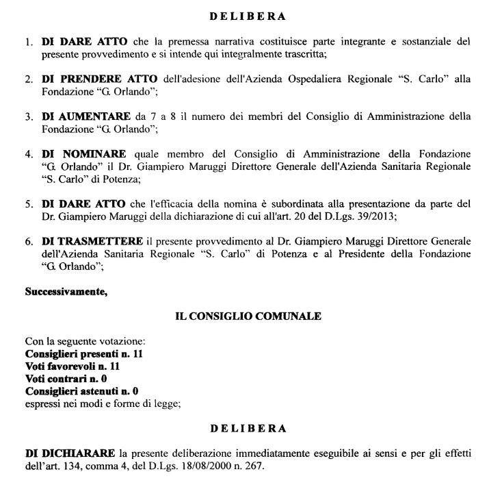 Un estratto della delibera del Consiglio Comunale di Pescopagano
