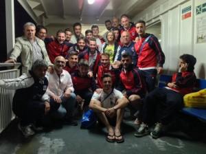 Il Picerno sul traghetto al rientro dalla Sicilia