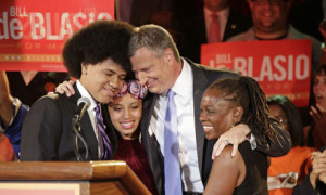 Bill de Blasio celebrates with his family