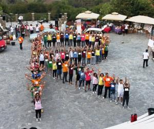 I rappresentanti dei 15 comuni del Marmo Platano Melandro nel comporre la R umana di Ruraliadi