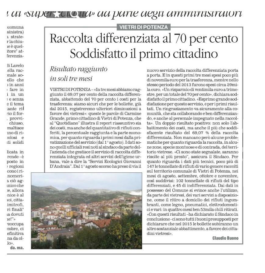 """L'articolo pubblicato ieri 12 dicembre sul """"Quotidiano del Sud"""", a pagina 23"""