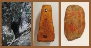 Alcuni reperti ritrovati nella grotta a Vietri di Potenza, e a sinistra l'ingresso alla grotta