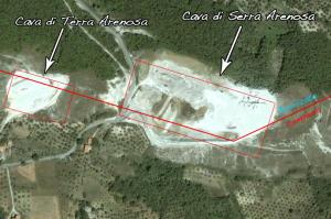 Le due cave nella zona: Terra Arenosa e Serra Arenosa