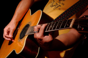 acoustic guitar performance by music band