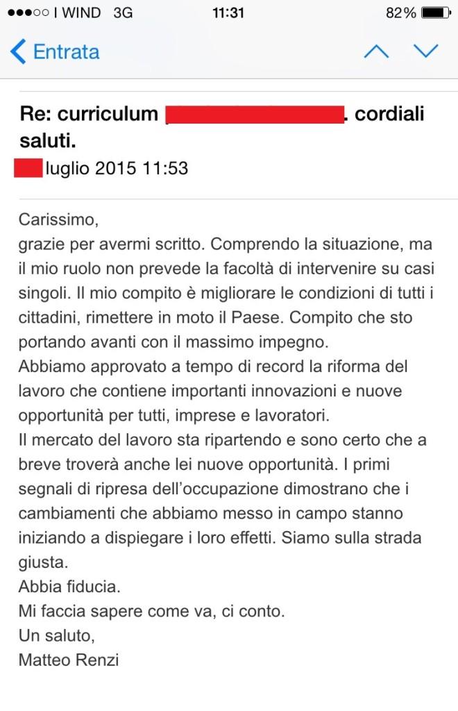La mail di risposta a firma di Matteo Renzi