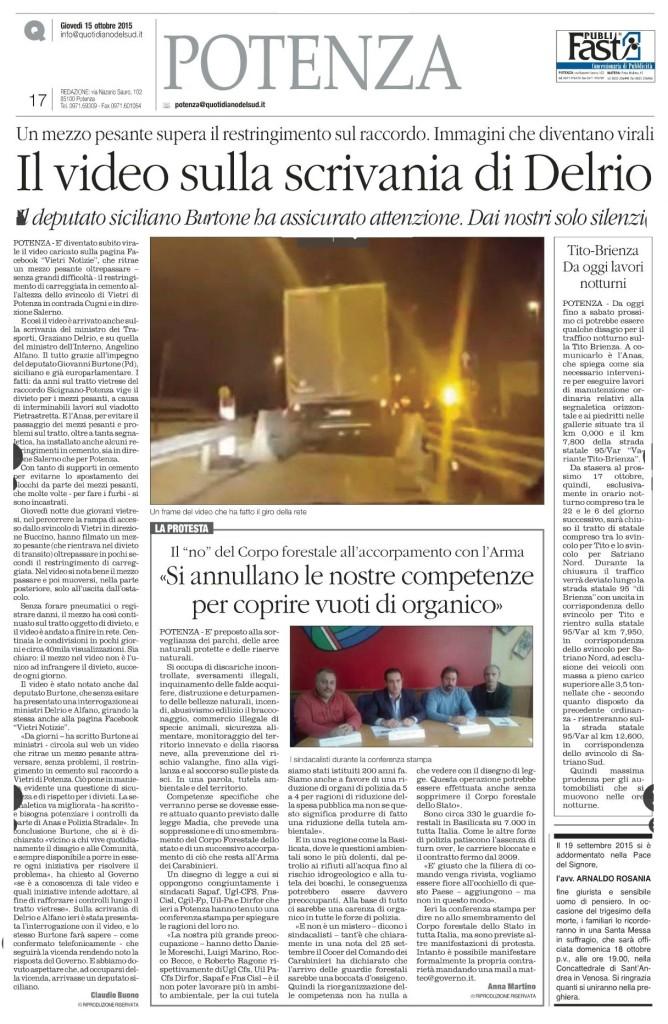 """L'articolo pubblicato ieri 15.10.2015 sul """"Quotidiano del Sud"""""""