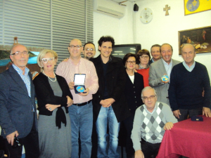 Michelangelo Russo, Angelo Leone, Mario Coviello, Alessandro Angiolillo con Pasquale Ferrone e i bellesi dell'associazione Fortunato che vivono a Salerno