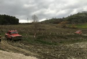 La formazione dei VVF sulla pista di Vietri